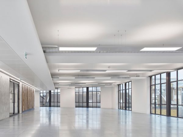 inside of new leasehold offices on Valentine Place, views out are through french door style windows