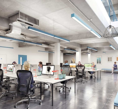 cool open plan working space grey tiles matching a grey ceiling, long blue lamps and door