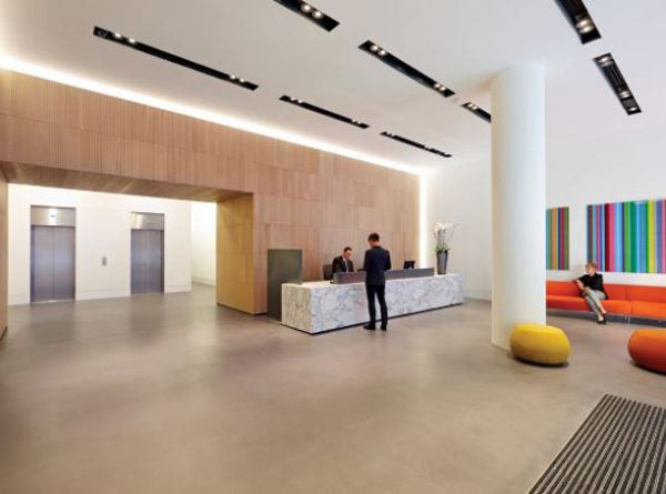 spacious reception and with two lifts accessing the building in Southwark