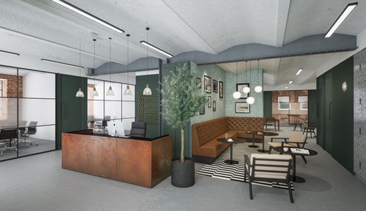stylish reception and relaxed meeting area in natural green, brown and grey colours, indoor plant and pictures on the walls