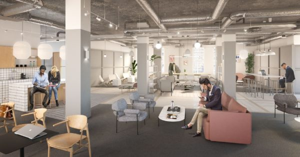 modern and relaxed large lounge space in neutral coloured serviced office space in SE1