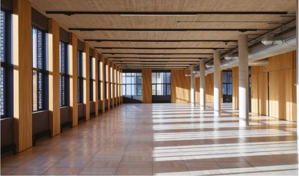 tunnel view of office with different shades of brown wood in flooring, walls and ceiling, light pouring in