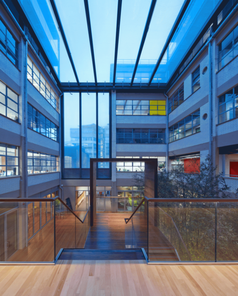 wooden floors throughout the flexible leasehold, neighbouring buildings visible through the glass side
