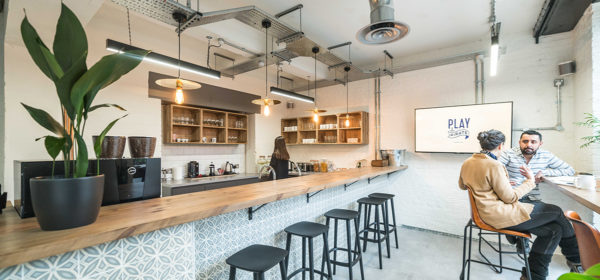break area and open plan kitchen in a beautiful serviced office space on Tanner Street